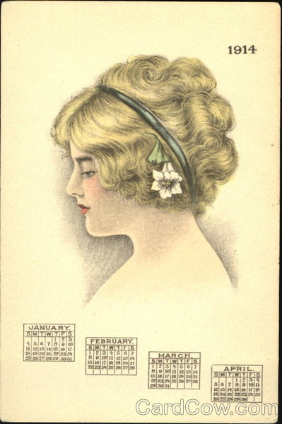 1914 Beautiful Lady New Year's