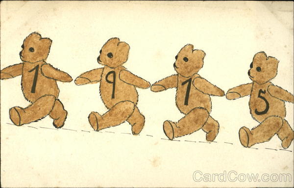 1915 Teddy Bears Hand Drawn
