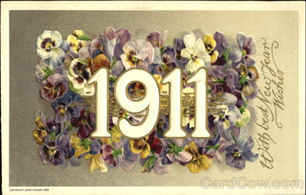 1911 With Best New Year Wishes Year Dates
