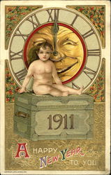 1911 A Happy New Year To You Postcard