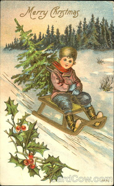 Boy on a sled with a tree Children