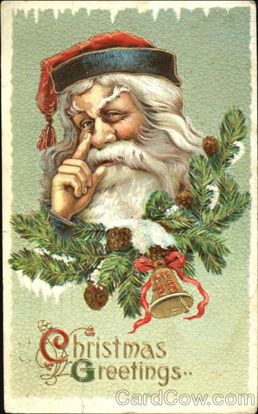 santa with finger beside nose santa claus