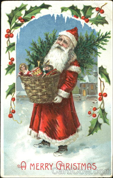 Santa carrying basket with toys and a tree claus