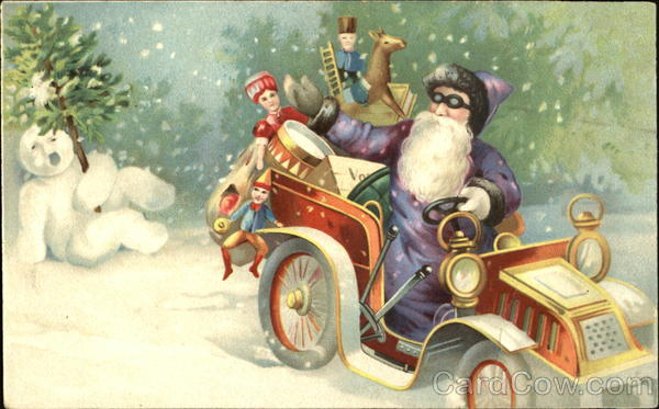 Purple-Robed Santa Delivering Toys in Old-Fashioned Car