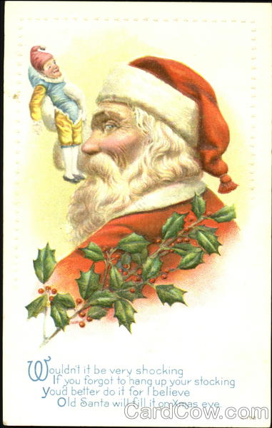 Profile of Santa and Elf Santa Claus