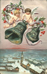 Two Cherubs Ringing Bells Above Small Town