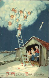 Angels coming down a ladder to a family