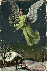 Green-Robed Angel Hovers Over Snow-Covered Cottage At Night