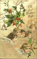 Faces and wings of young angels with mistletoe and bells