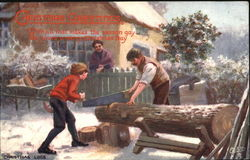 Family Sawing Wood Outside Home Postcard