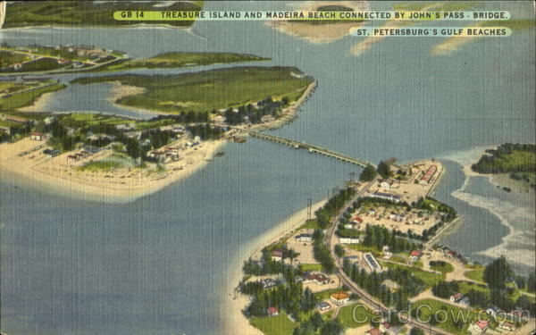 Treasure Island And Madeira Beach connected by John's Pass Bridge St. Petersburf Florida
