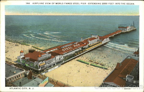 Airplane View Of World Famed Steel Pier, Airplane View of Atlantic City New Jersey