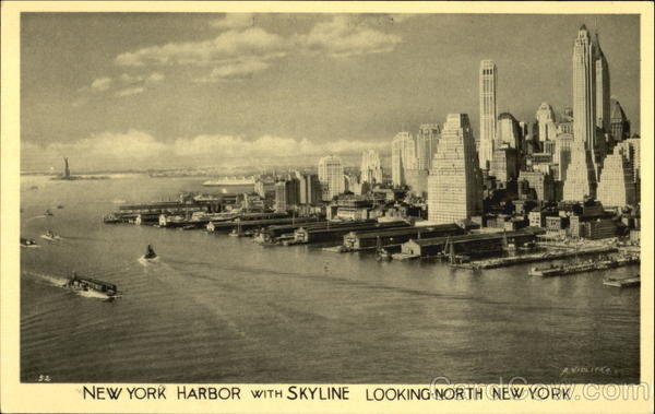 New York Harbor With Skyline Looking North