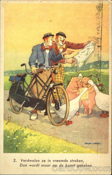 Two Clowns riding a Tandem Comic, Funny