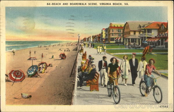 Beach And Boardwalk Scene Virginia Beach