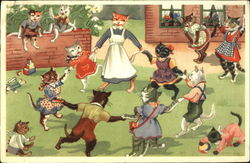 Cat children playing in schoolyard