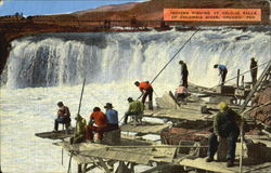 Indians fishing at Celilo Falls Postcard