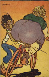 Fat Lady on Bicycle with Skinny Man