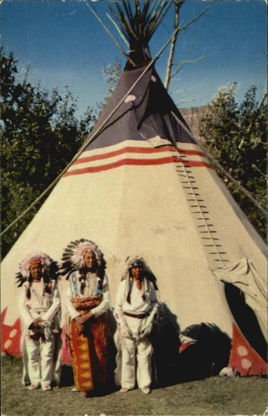 Indian Braves and Tepee Native Americana