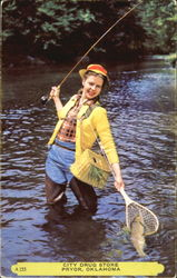 Woman Fishing - City Drug Store
