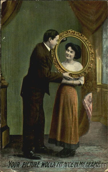 Man looking through mirror at woman 39 s face couples for Mirror 7th girl