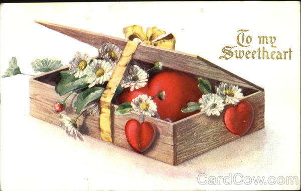 Ribboned box containing hearts and flowers Romance & Love