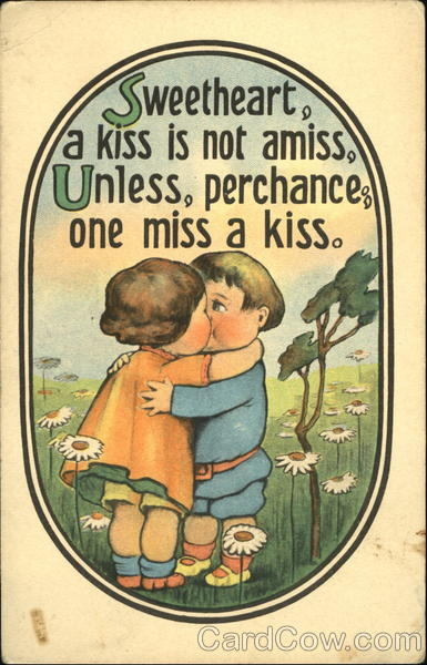 Cartoon of a boy kissing a girl Children