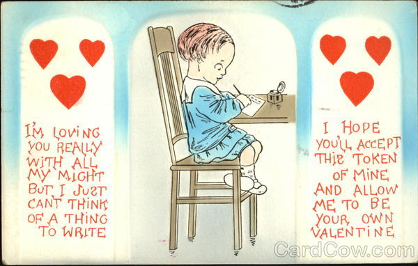 Child Sitting at a Table Writing a Letter Comic