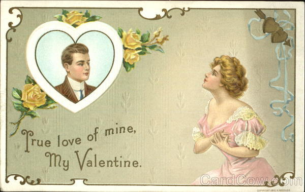 A woman with hands on heart looking longingly at a man in a heart