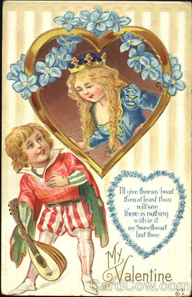 A boy bard woos his girl princess framed in a heart