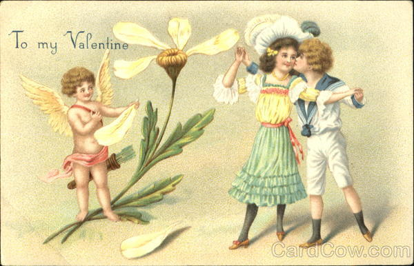 Boy kissing a girl, with cupid watchng Children