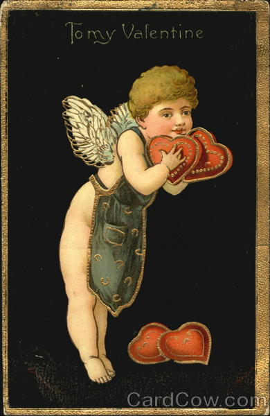 A Cupid Holding Red Hearts