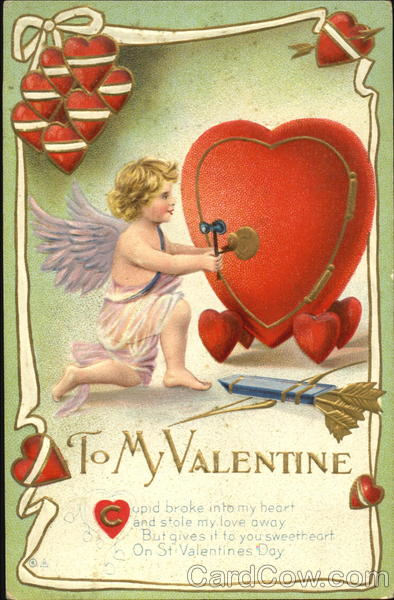 A cupid opening a heart shaped safe