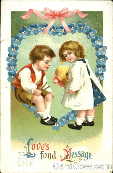 Boy and Girl under Heart Wreath Children