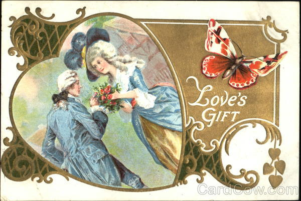 18th Century Couple with Bouquet of Flowers inside a Heart Frame, with Butterfly