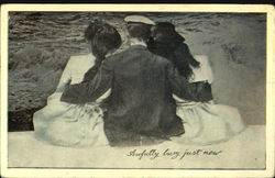 Man Seated between two Women