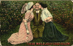 Two women kissing the same man