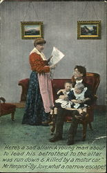 Beleaguered man with two children and woman reading newspaper