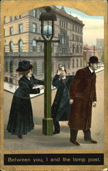 Two men and a woman on street corner