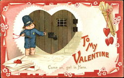 Child policeman holding key, heart shaped door Postcard