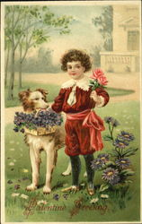 Boy dressed in red with dog carrying flowers
