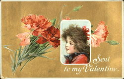 Carnations with girl's face inset