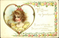 Girl with bow in heart from with heart border Postcard
