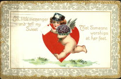 Cupid delivering a Valentine Postcard