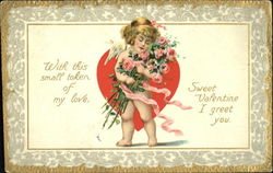 Cupid holding a bouquet of pink roses Postcard