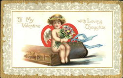 Cupid Sitting on a Suitcase Postcard
