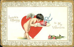 Cupid with a Heart on a Platter Postcard