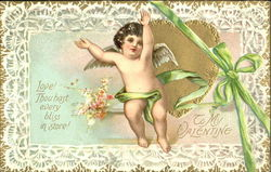Little Cupid surrounded by lace Postcard