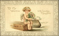 Cupid with flowers sittting on a trunk with a bag Postcard