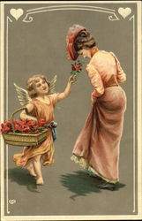 Girl with winds holding basket of flowers, giving flower to woman